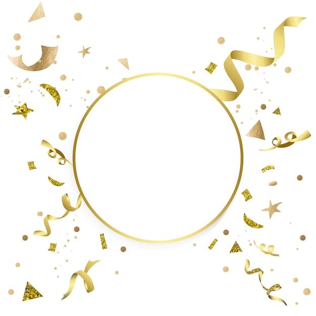 金色の紙吹雪のお祝いのデザイン 無料ベクター