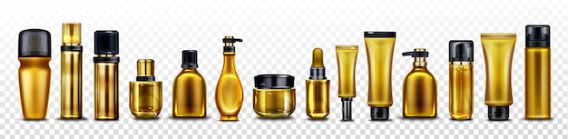 Gold cosmetic bottles, jars and tubes for cream, spray Free Vector