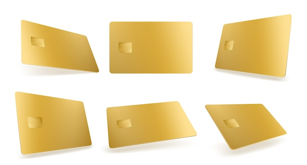 Gold credit card mockup, isolated golden blank template with chip on white Free Vector