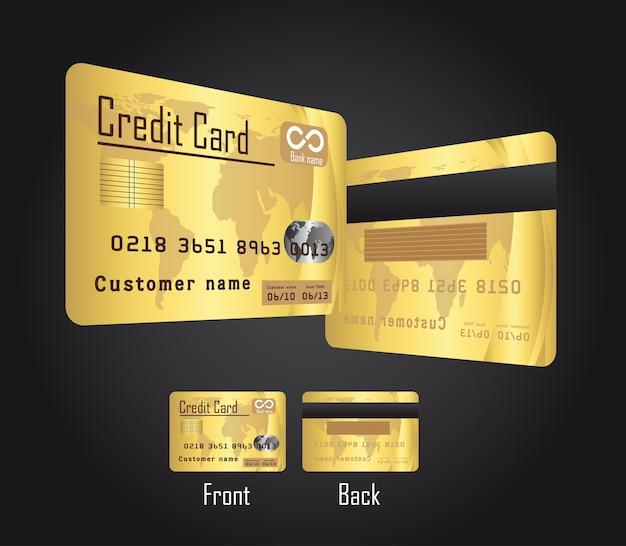premium vector  gold credit cards over black background