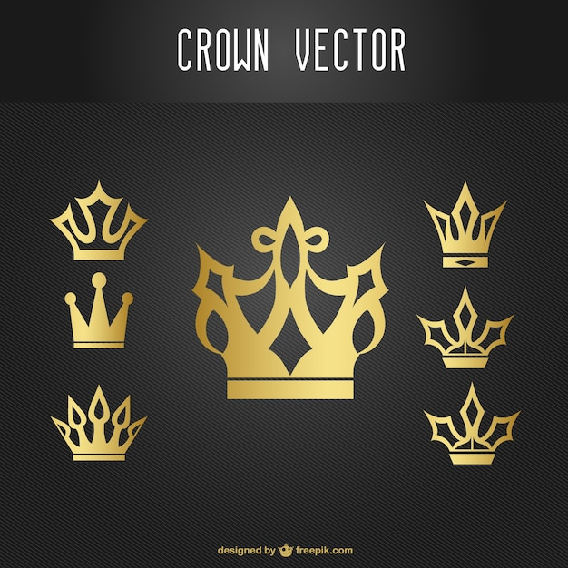 Gold Crown Icons Set Vector Free Download