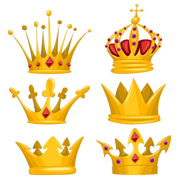 Premium Vector Gold Crown For King Queen Princess And Prince Cartoon Set Royal Attributes Icons Collection Isolated On White Background Realistic white tooth in golden crown on blue background. https www freepik com profile preagreement getstarted 9128785