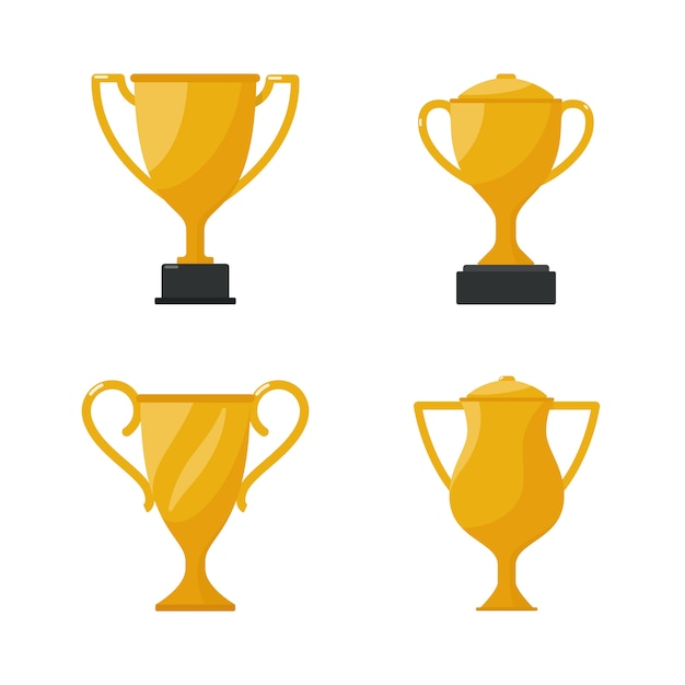 Gold cup trophy, award golden cup. Premium Vector
