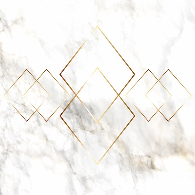 Gold diamond pattern on marble texture Free Vector