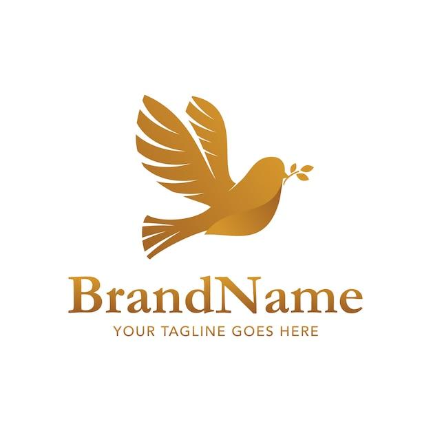Золотой голубь кусок логотип вектор шаблон Premium векторы