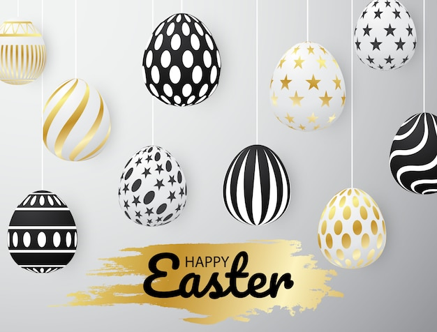Gold easter egg design use to assemble posters Premium Vector