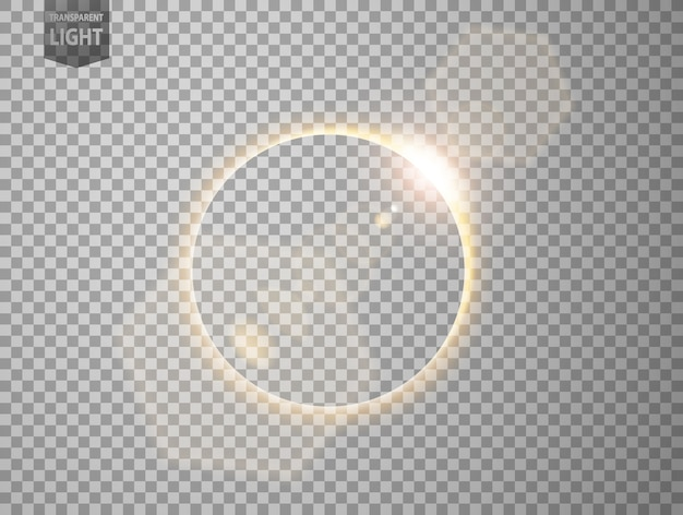 Gold eclipse with lens flare Premium Vector