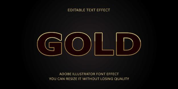 Gold editable text effect Premium Vector