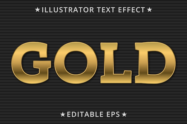 Gold editable text style effect Premium Vector