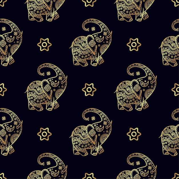 Gold elephant seamless pattern. Premium Vector