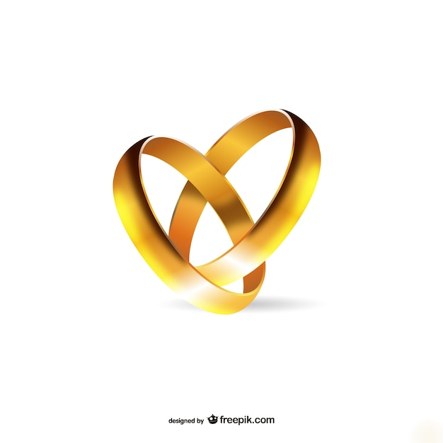 Gold engagement rings Vector Free Download