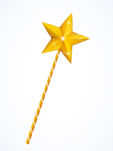 Gold fairy magic wand, princess stick with star Premium Vector
