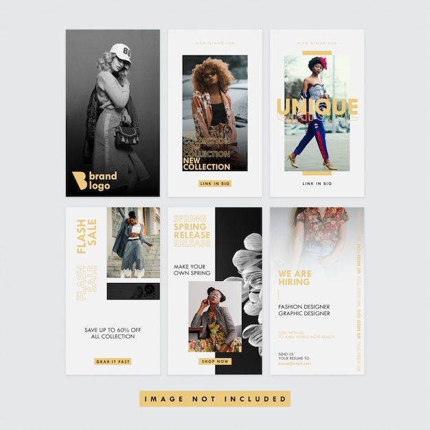 Gold Fashion Social Media Instagram Story Premium Vector