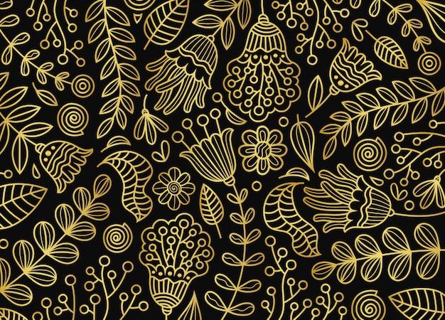 金花植物パターン背景 Premiumベクター