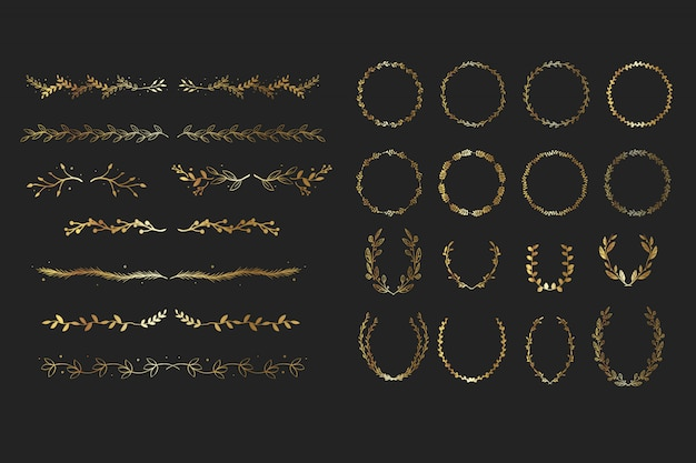 Gold floral elements Premium Vector