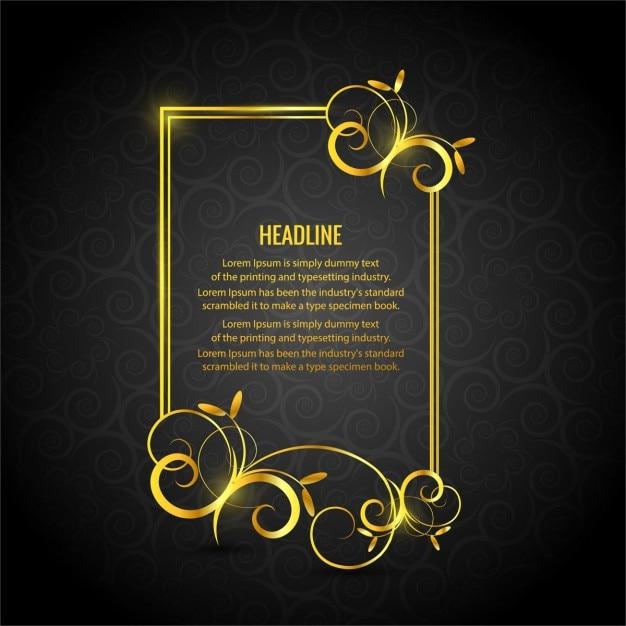Gold Floral Frame On A Black Background Free Vector