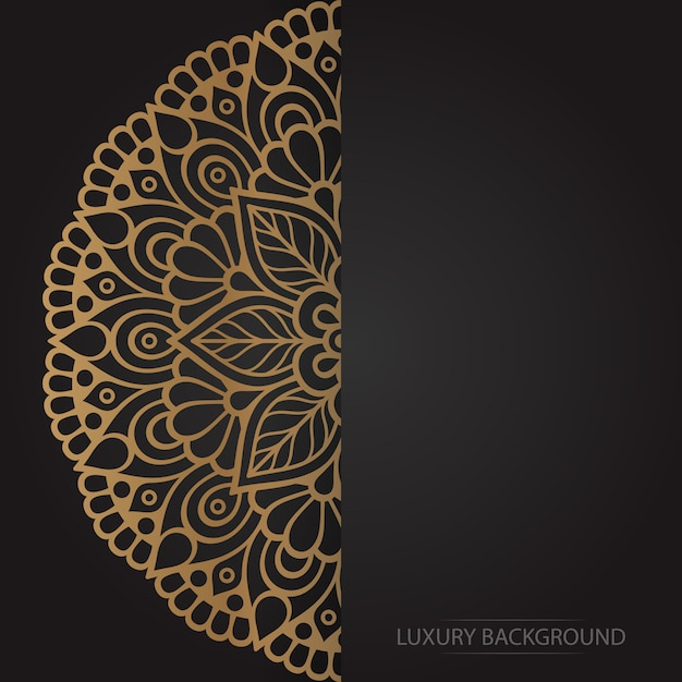 Gold flower mandala on dark background Free Vector