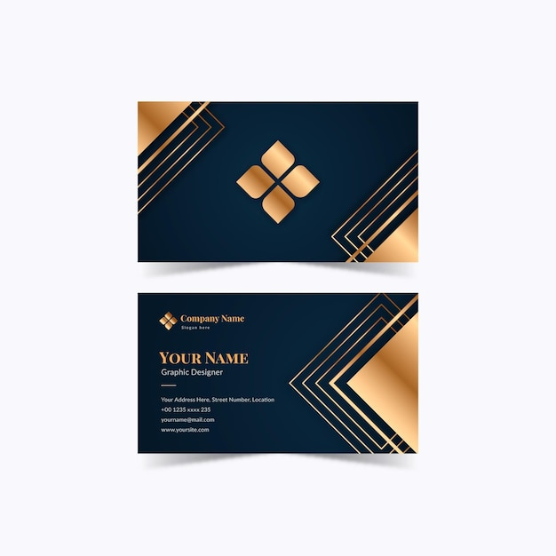 Gold foil business card template Free Vector