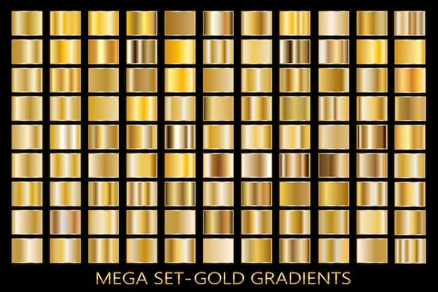 Gold foil texture background set. vector golden, copper, brass and metal gradient template. Premium Vector