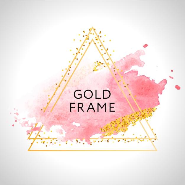Золотая рамка краски ручная роспись мазка. идеально подходит для заголовка, логотипа и продажи баннера. акварель Premium векторы