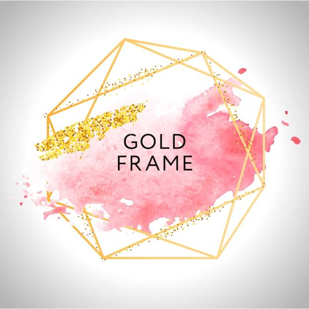 Золотая рамка краски ручная роспись мазка кистью. идеально подходит для заголовка, логотипа и продажи баннера. акварель Premium векторы