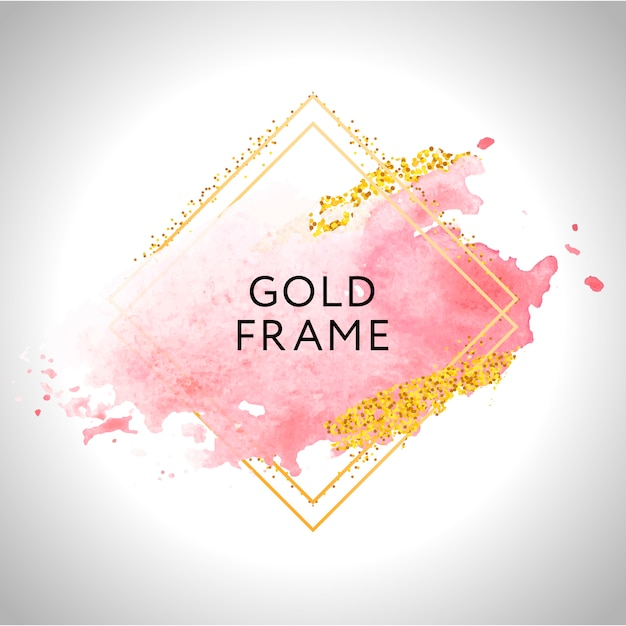 Gold frame paint hand painted  brush stroke. perfect  for headline, logo and sale banner. watercolor Premium Vector