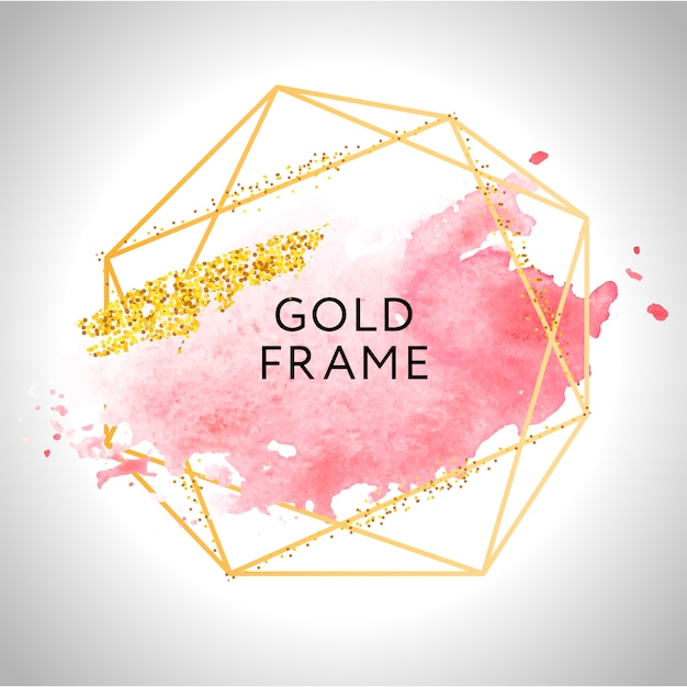 Gold frame paint hand painted  brush stroke. perfect  for headline, logo and sale banner. watercolor. Premium Vector