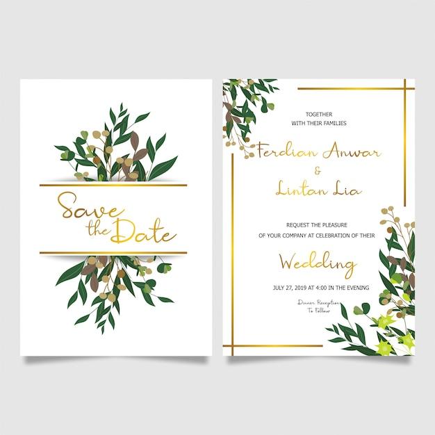 Gold frame wedding invitation card Premium Vector