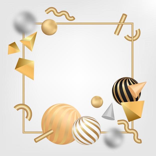 3d形状のゴールドフレーム Premiumベクター