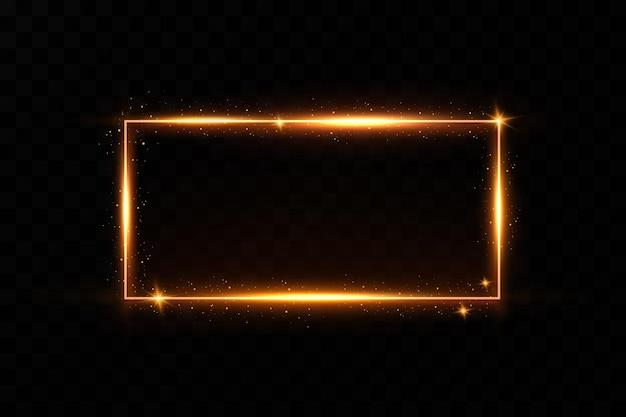 燃えるような火花のあるゴールドフレーム。光の効果を持つゴールドフレーム。輝くバナー。 Premiumベクター
