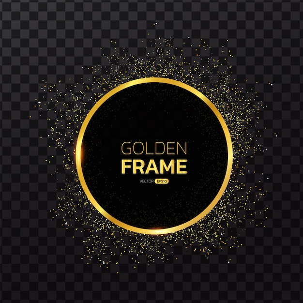Gold frame with glitter background Premium Vector