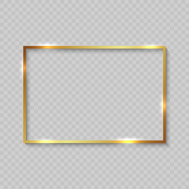 Gold frame with shiny borders Premium Vector
