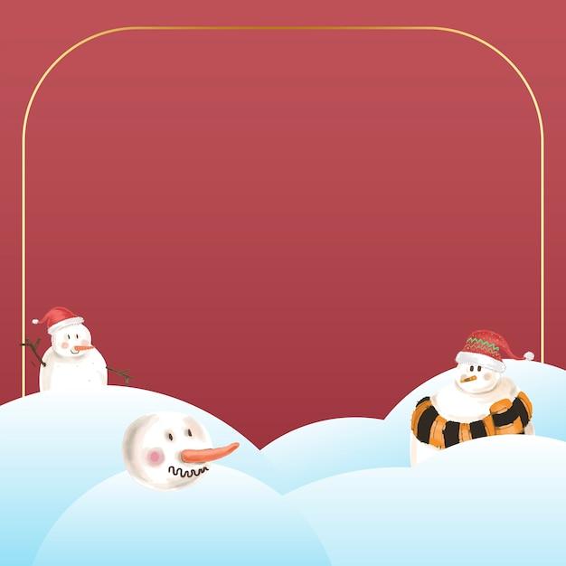 赤い背景に雪だるまとゴールドフレーム 無料ベクター