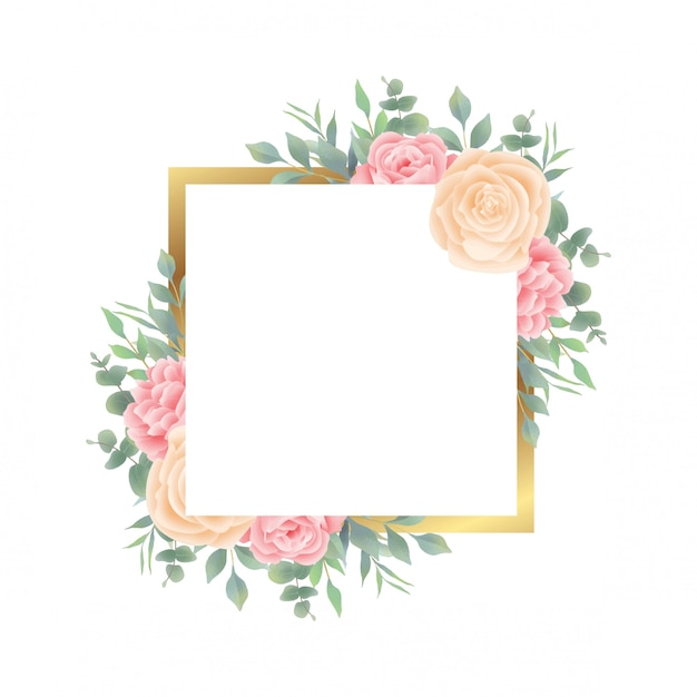 Gold frame with watercolor floral and leaf decorations for the wedding invitation card template Premium Vector