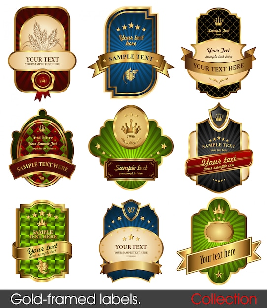 Gold-framed labels - 9 items on different topics. premium design elements. Premium Vector