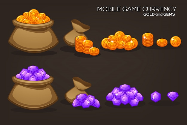 Gold and gems, mobile game currency, vector object collection Premium Vector
