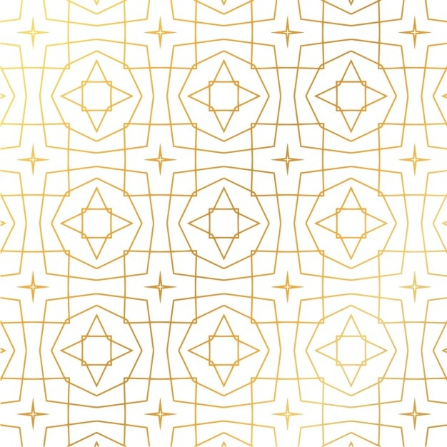 gold geometric pattern on a white background vector free