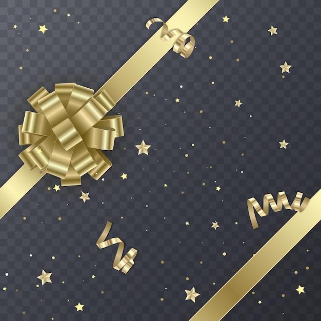 Золотая подарочная лента с реалистичным бантом. подарочный элемент для дизайна карты. праздничный фон, Premium векторы