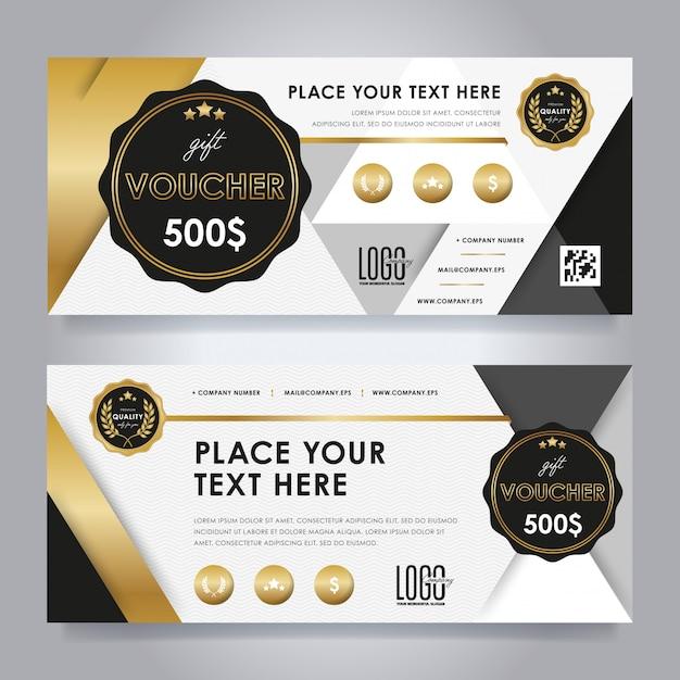 Gold gift voucher set Premium Vector