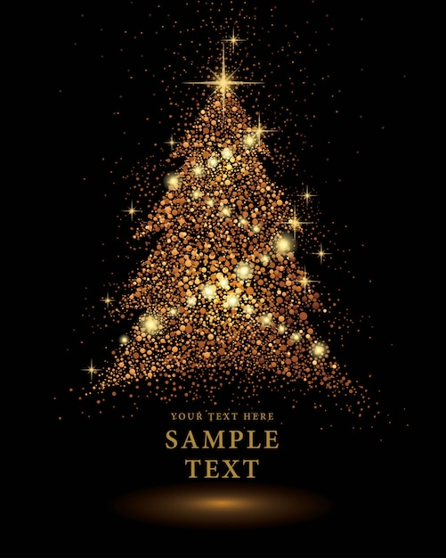 Gold Glitter Christmas Tree Vector On Black Background Vector