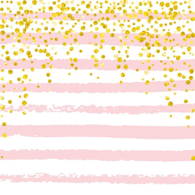 Gold glitter confetti with dots Premium Vector