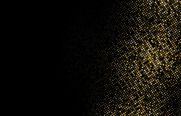 Gold glitter halftone dotted background Premium Vector