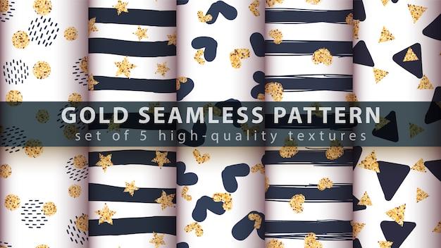 Gold glitter seamless pattern. Premium Vector