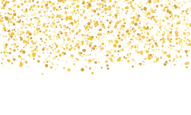 ゴールドラメの質感。落ちる紙吹雪。黄金の水玉の背景。図。 Premiumベクター