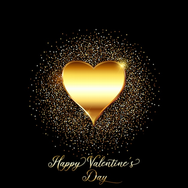Gold glitter valentines day background  Free Vector
