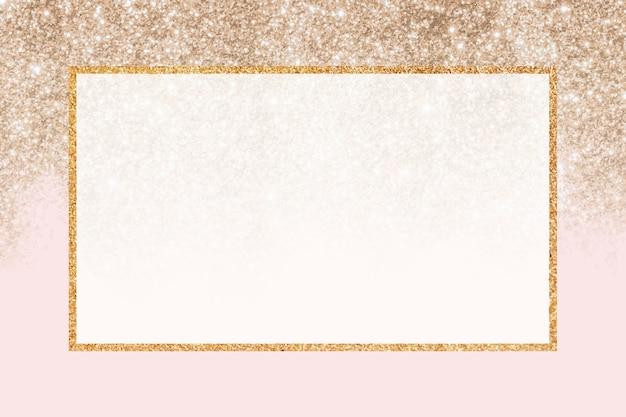Золотой блестящий прямоугольник рамки фона Бесплатные векторы
