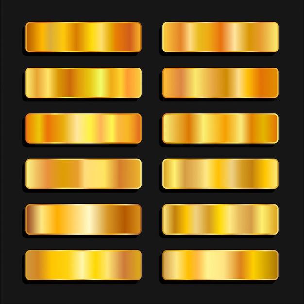 ゴールドゴールデンカラーパレットメタリックグラデーション Premiumベクター