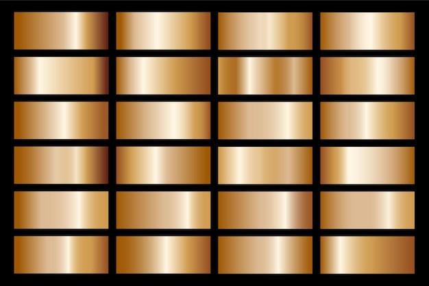 フレーム、リボン、バナー、コイン、ラベルのゴールドグラデーションセット背景アイコンテクスチャメタリックイラスト。リアルな抽象的な黄金のデザインのシームレスなパターン。エレガントな光と輝きのテンプレート Premiumベクター
