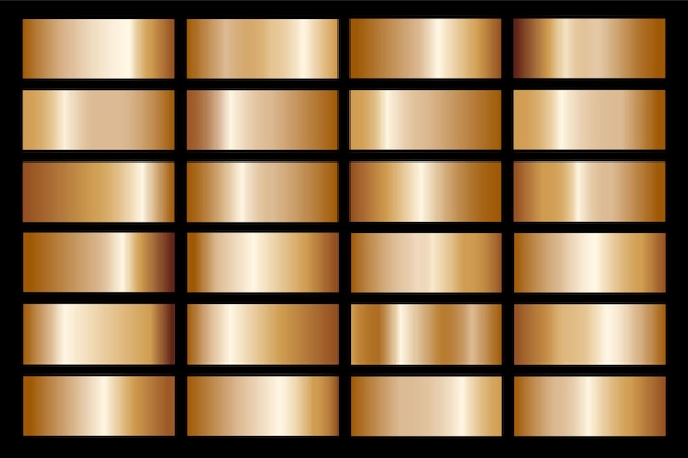フレーム、リボン、バナー、コイン、ラベルのゴールドグラデーションセット背景アイコンテクスチャメタリックイラスト。リアルな抽象的な黄金のデザインのシームレスなパターン。 Premiumベクター