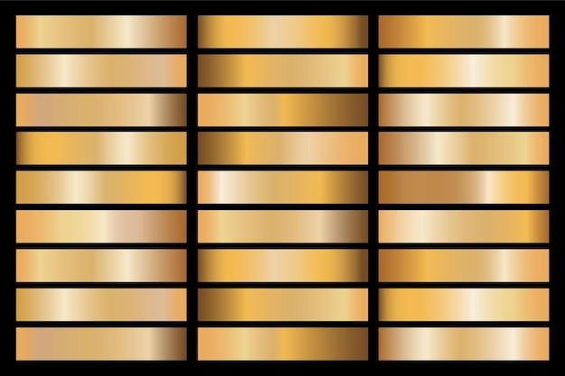 フレーム、リボン、バナー、コイン、ラベルのゴールドグラデーションセット背景ベクトルアイコンテクスチャメタリックイラスト。リアルな抽象的な黄金のデザインのシームレスなパターン。エレガントな光と輝きのテンプレート Premiumベクター
